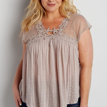 plus size lightweight top with mesh and crochet | maurices
