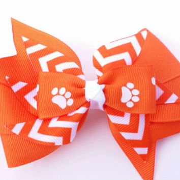 Orange and white hair bow, orange chevron bow, paw print, back to school bow, football team colors, grosgrain ribbon 4 inch, school colors