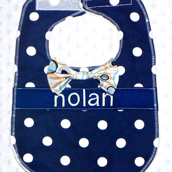 Personalized Bib with Matching Bow Tie - Baby Boy Navy Aqua and Tangerine Polka Dots