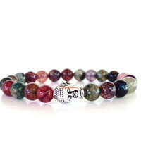 Yoga Jewelry Buddha Mala Bracelet Courage Protection Agate Meditation Colorful Unique Birthday Gift Under 50 Item G3