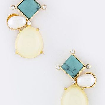 Cream & Turquoise Smolder Earrings