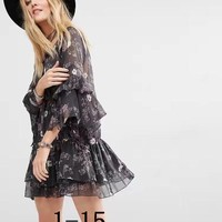 Chanel women's Free People Sunsetter Smock Dress with Frill hem in Print