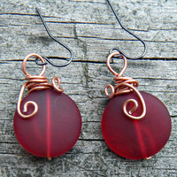 The Red Sea  Ruby Red Sea Glass  Earrings.Red wire wrapped sea glass earrings  silver findings.