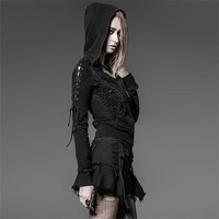 PUNK RAVE Gothic Lace Up Sleeve Black Hoodie