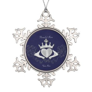 The Claddagh (Silver) Snowflake Pewter Christmas Ornament