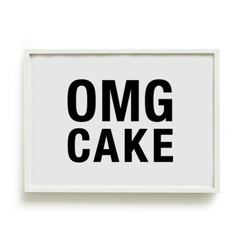 A4 Typography Poster, baking print, kitchen decor - OMG CAKE