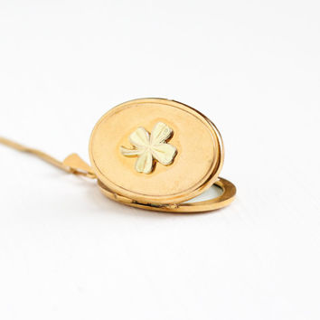 Vintage Gold Plated Four Leaf Clover German Locket Necklace - 1940s WWII Germany Oval Pendant Shamrock Good Luck Gold Tone Photo Jewelry