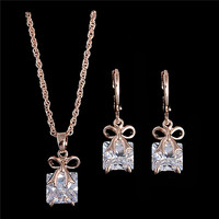 H:HYDE Hot sale Gold Color shiny pretty bow CZ Chain Necklace + Earrings Women's/Girl's Jewelry Sets Gifts