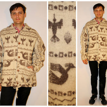 Vintage 90s Mens TRIBAL Jacket, Oversized Wool Aztec Print, SOUTHWESTERN Geometric Pattern, Cowichan Winter Coat, Xl