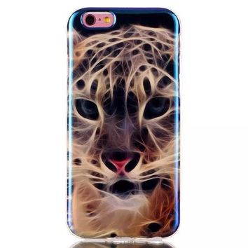 Leopard Blue Light Case Cover for iPhone & Samsung Galaxy S6  Unique iPhone 6s Plus-170928
