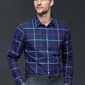 Gap Men Windowpane Oxford Shirt Slim Fit