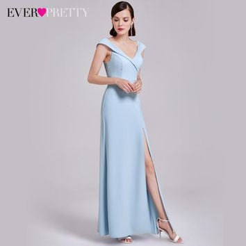 Sexy V-Neck Evening Dresses Ever Pretty EP07203  Elegant Evening Dresses With Cap Sleeves Women High Splits Party Dresses 2017
