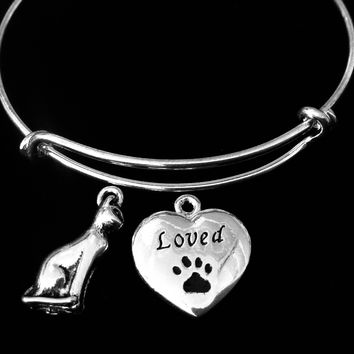 Loved Cat Jewelry Adjustable Bracelet Expandable Silver Charm Bangle Animal Lover Gift One Size Fits All Kitten Paw Print