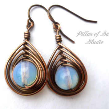 Wire wrapped earrings / wire wrapped jewelry handmade / opalite glass / copper jewelry / earthy jewelry / wire jewelry / dangle earrings