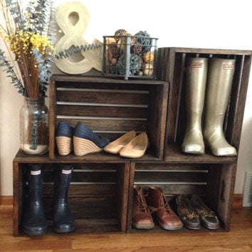 Two tiered wood wine crate shoe storage shelf