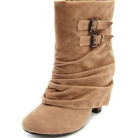 Sueded Fold-Over Heel Bootie: Charlotte Russe