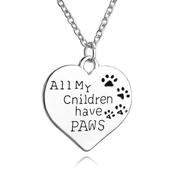 all my children have paws Footprint Pendant Necklace for Baby