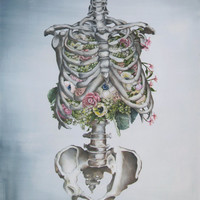 Floral Anatomy: Skeleton Print of Oil Painting 8x10