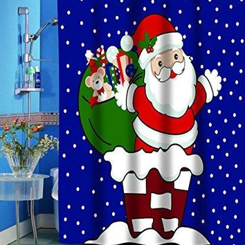 Merry Christmas Bathroom Wish Collection Holiday Fabric Shower Curtain (70 inch  x 72 inch ) - Santa on the Roof