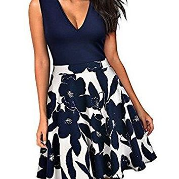 Sarin Mathews Women's Casual Floral Fit and Flare Sleeveless Party Mini Dresses