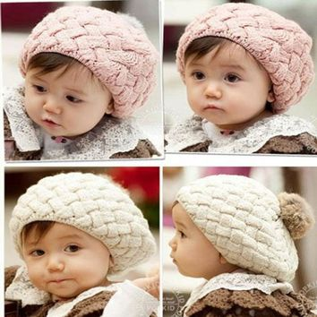 Winter baby boys and girls wool cap children's hat knitted cap Beret ice cream ball cap Berets