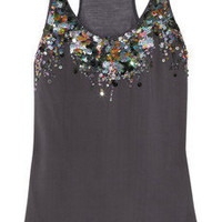Roberto Cavalli | Sequined silk and modal tank | NET-A-PORTER.COM
