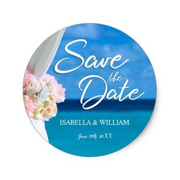 Elegant Ocean Beach Summer Save the Date Classic Round Sticker