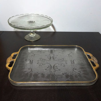 Antique Pressed Glass Scalloped Edge Pedestal Cake Stand and Serving Platter by Jeannette Glass with Harps, Scroll Designs and Gold Trim