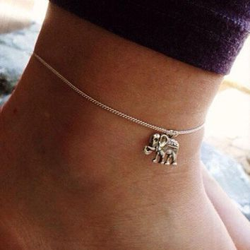 Bohemian Turkish Silver Color Elephant Single Chain Ankle Foot Chain Anklets For Women Jewelry Gift