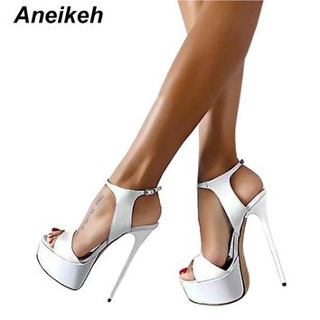 Aneikeh 16cm Ultra High Heels Sandals For Women Summer Sexy platform Wedge Club Shoes Woman Patent Leather Sandals