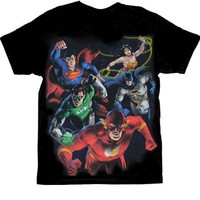 DC Comics Painted DC Group Black Mens T-shirt  - DC Comics - | TV Store Online