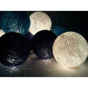 I Love Handicraft Orange Blue Dark Blue and White Color Set Cotton Ball String Lights Patio Wedding and Party Decoration (20 Balls/set)