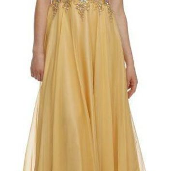Jewel Neckline Studded Bodice A Line Gold Red Carpet Gown