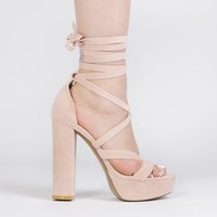 Stella Lace Up Heels in Dusky Pink Faux Suede