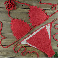Handmade Padded Lace Crochet Bikini Bathing Suit