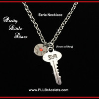 Pretty Little Liars Inspired Ezria 3B Key Silver and Crystal Ship Necklace
