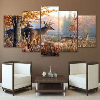 5 Panels Large Size Beautiful Deer Modern Creative Nature Landscape Photos Picture Wall Art Picture Modern Home Decor Living Roo
