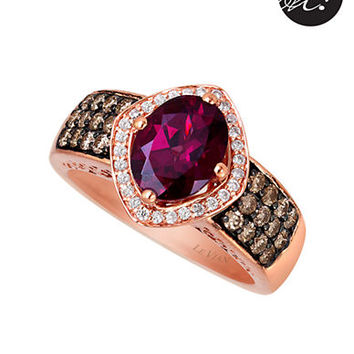 Levian 14 Kt. Strawberry Gold Rhodolite Diamond Ring
