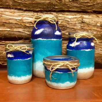 Office Mason Jar Set, Beach Mason Jar Desk Set, Beach Mason Jar Bathroom Set, Beach Office Decor, Ocean Blue Mason Jar Vanity Set