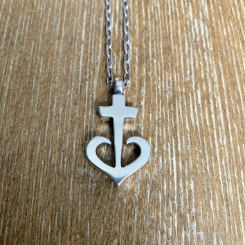LOVE Anchored Heart Necklace - Sterling Silver