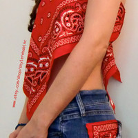 Bandanna Bandeau and Jean Shorts Set. Matching outfit.  Size is XS. In Red Color.  Hipster Fashion Style Tumblr