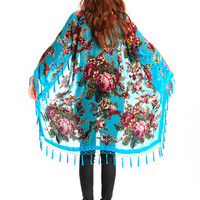 Hippie Boho Kimono Gypsy Silk Burnout Women Fringe Floral Kimono Cardigan Tassels Cover Up Cape Jacket Velvet Fringe Blue Rose Gifts for Her