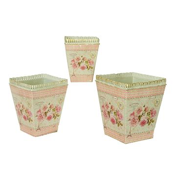 French country planters square vintage metal decorative vases & flower pots (set of 3)