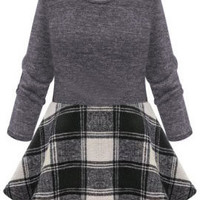 Black Plaid Long Sleeve A-Line Mini Skater Dress