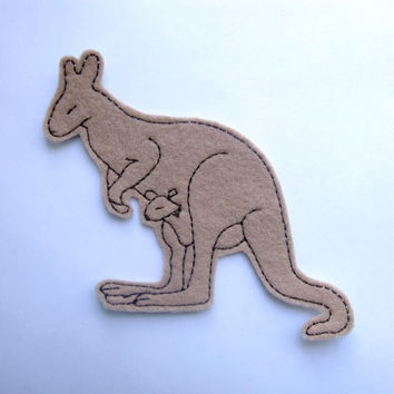 Kangaroo iron on patch applique in tan