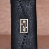 Lucky 21 Textured Faux Leather Jewel Emblem Trifold Wallet - Black