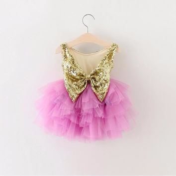 "The ""Brittany"" Gold Sequin Bow Fuchsia Dress"