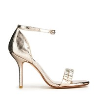 Dune Helena Embelised Barely There Champagne Heeled Sandals - Cream