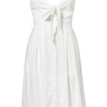 Sweet Love Sleeveless Spaghetti Strap V Neck Bow Cut Out Smocked Button A Line Casual Midi Dress