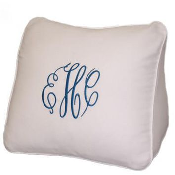 Monogrammed White Wedge Pique Pillow